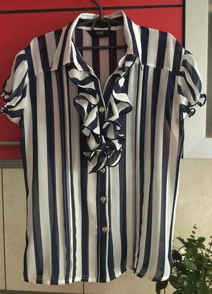 Полосатая блуза блузка в полоску с воротником рукава фонарики