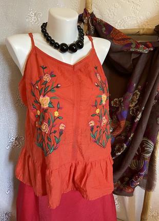 Блуза яркая рубашка топ футболка вышивка цветочный вышиванка коттон этно бохо хиппи стиль