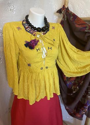 Блуза яркая рубашка кофточка вышиванка этно бохо стиль