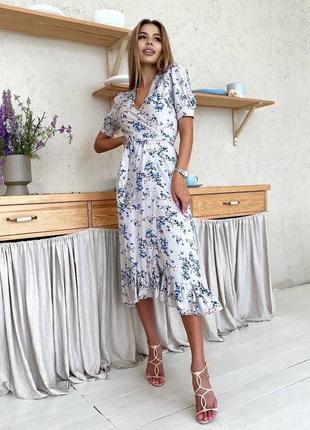 Платье со штапеля на запах4 фото