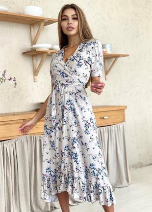 Платье со штапеля на запах5 фото