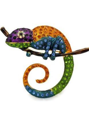 """🦎✨ крупная оригинальная брошь-кулон """"хамелеон"""" оранжево-синий кристаллы ящерица брошка"""