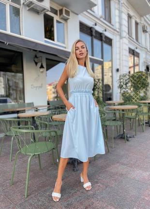 Платье миди - 3 цвета, платье софт, легкое летнее платье, классическое платье (арт 13001)
