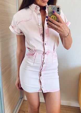 Летнее джинсовое платье на пуговицах