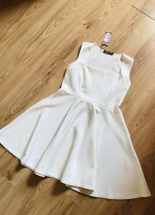 Ликвидация 🔥 белое платье skater dress с квадратным декольте boohoo ❤️