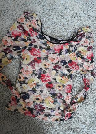 Стильная кофта джемпер в цветы zara
