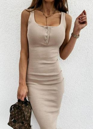 Базовое платье рубчик с пуговицами