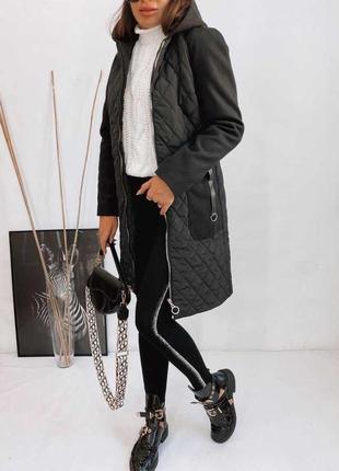 Пальто стёганое с капюшоном кашемир