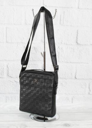 Мужская кожаная сумка 808-1 черная средняя вертикальная