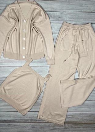 Костюм тройка комплект кофта майка и штаны цвета в ассортименте