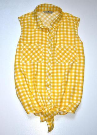 Tu. яркая топ рубашка в бело желтую клетку. с.8.36