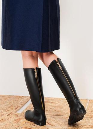 Стильные резиновые сапоги на молнии 41 р (27 см) чёрный цвет!