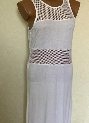 Белое платье в пол сеткой пляж