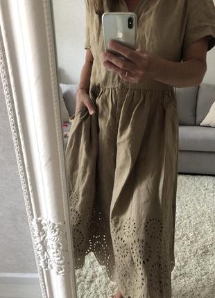 Шикарное льняное платье globus  прошва перфорация шитьё