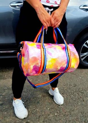 Спортивная дорожная сумка, радужная, разноцветная, спортивна валазі5 фото