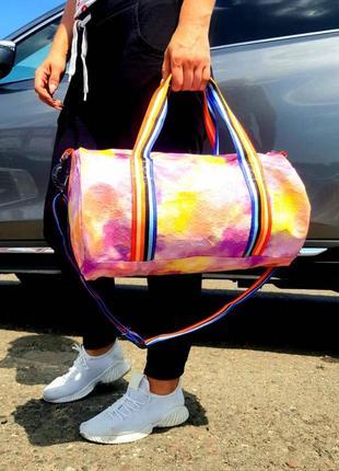 Спортивная дорожная сумка, радужная, разноцветная, спортивна валазі3 фото