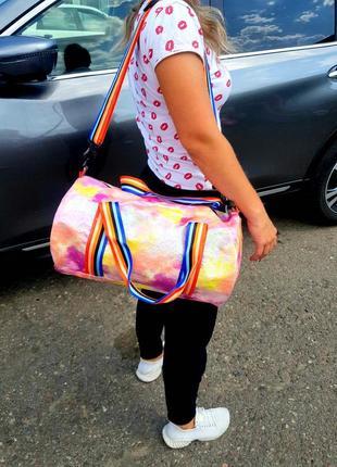 Спортивная дорожная сумка, радужная, разноцветная, спортивна валазі4 фото