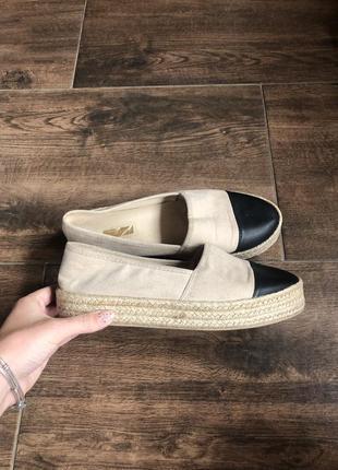 Эспадрильи мокасины туфли кеды на соломенной подошве