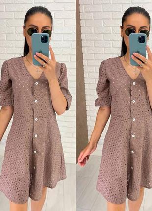 Идеальное платье, р. уни s-m, прошва+хлопок, бежевый