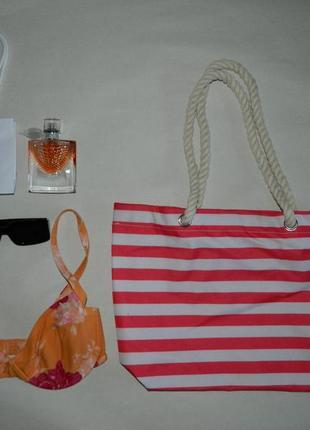 Полосатая вместительная сумка шопер (можно как пляжную)