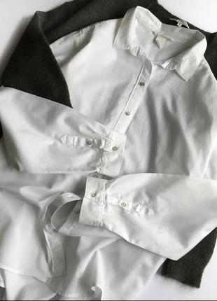 Базовая белая/ молочная рубашка оверсайз сорочка h&m