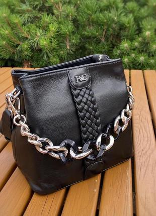 Черная кожаная сумка polina & eiterou