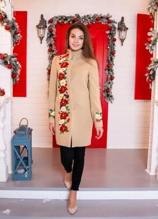 Пальто кашемірове з вишивкою