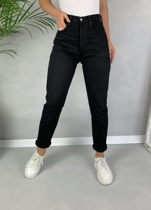 Чёрные базовые джинсы levi's посадка высокая .