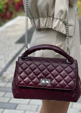 Кожаная сумка polina & eiterou цвет бургунди