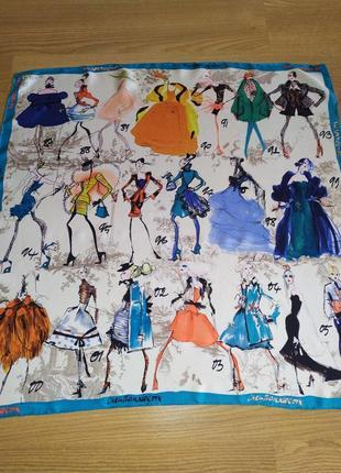 Невероятно красивый винтажный подписной платок из натурального шелка