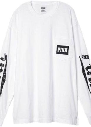 Лонгслив свитшот кофта victoria's secret pink с большим лого и пайетками