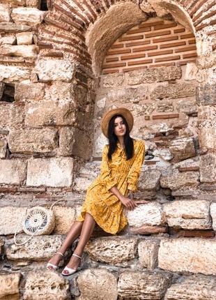 Платье сукня миди с длинным рукавом в цветочный принт оборка рюши р.46