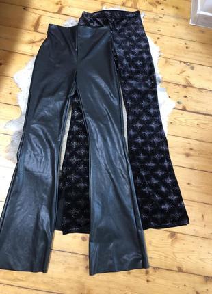 Лосины леггинсы штаны клеши с разрезом бархатные, кожаные высокая посадка по фигуре завышенная талия
