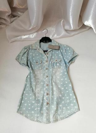 Рубашка блуза  летний тонкий джинс коттон сердечки
