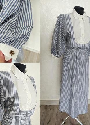 Винтажное хлопковое платье с обьемными рукавами  в морском стиле для фотосессии