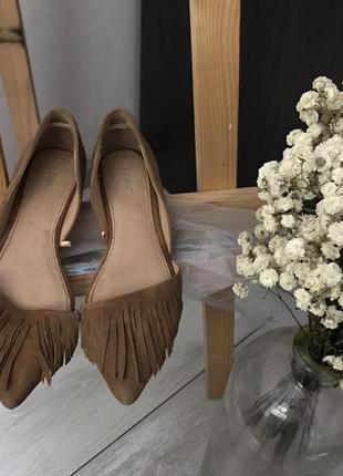 Стильні замшеві туфлі лодочки балетки