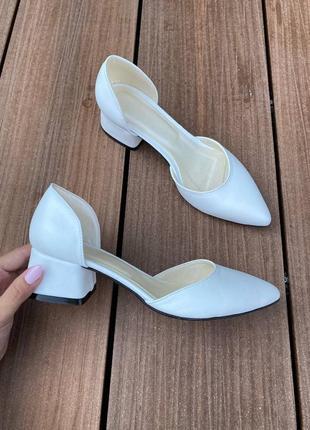 Рр 36-40. туфли белые натуральная кожа