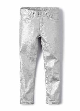 Актуальные джинсы серебристые skinny children's place на девочку 6, 8 и 14 лет