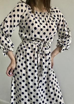 Винтажное шёлковое платье в горошек, 100% шёлк