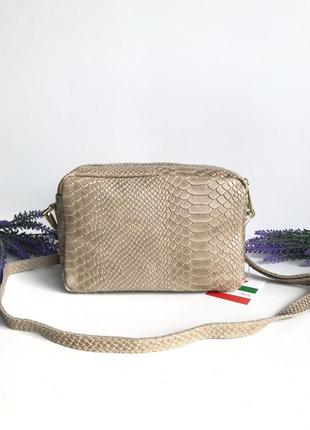 Кожаная сумка клатч на два отделения, рептилия , производство италия