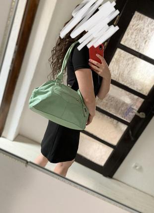 Сумка шкіряна сумка кожа салатово фісташкового кольору