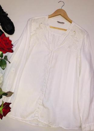 Шикарная льняная блуза с шитьём