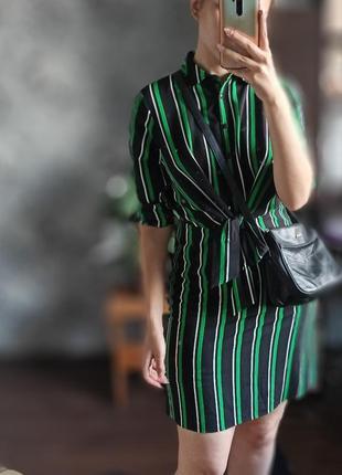 Новое платье в полоску на завязках спереди