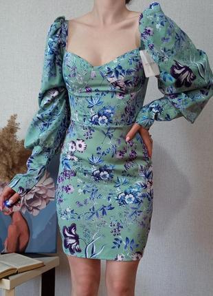 Нове міні-плаття б'юстьє в квітковий принт 🌸 s,m розмір