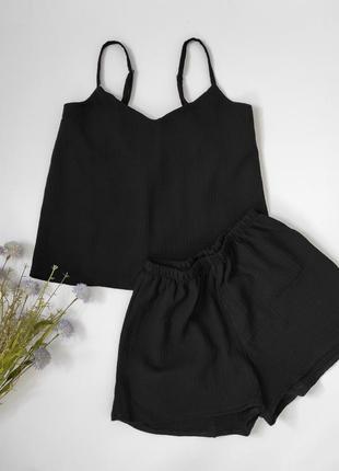 Муслиновые пижамы черного цвета