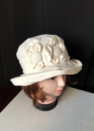 Dorian hat панама белая молочная с загнутыми полями два цветка