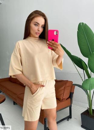 Женский костюм спортивный футболка и шорты