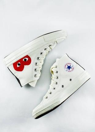 Converse comme des garcons white high👍(36рр - 44рр) 🏀 кеды белые конверс