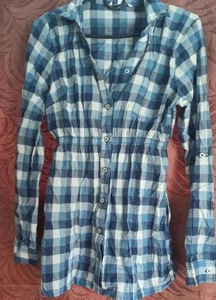 Рубашка в клетку с резинкой