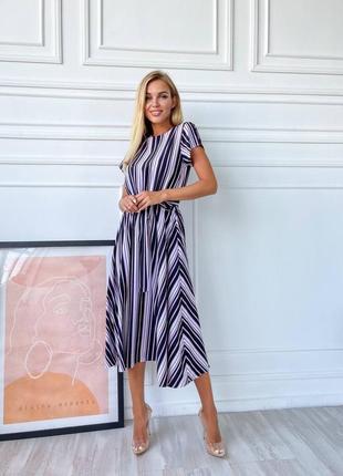 Платья миди - 7 цветов, платье софт, платье миди, платье под пояс (арт 13004)